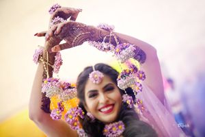 Happy bride shot in lavender kaleere