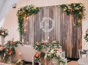 Photo of Rustic fairytale photobooth with wedding logo