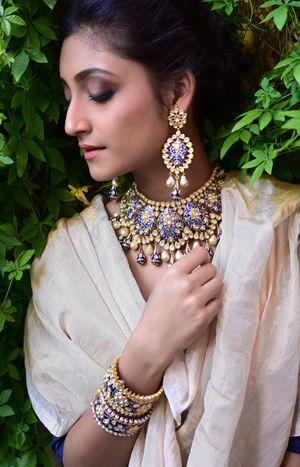 Purple enamel work jewellery set