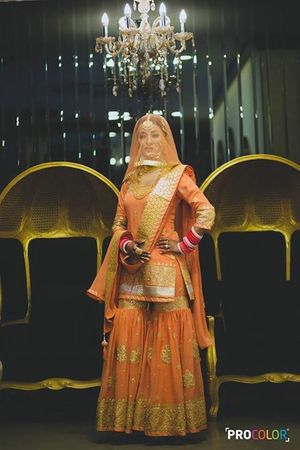 Coral and gold sharara