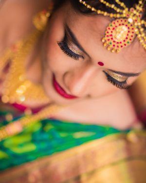 South Indian bridal makeup gold eyes