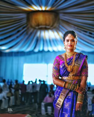 A south Indian bride in temple jewellery and kanjeevaram saree