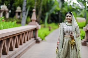 Offbeat bridal lehenga in dirty green colour