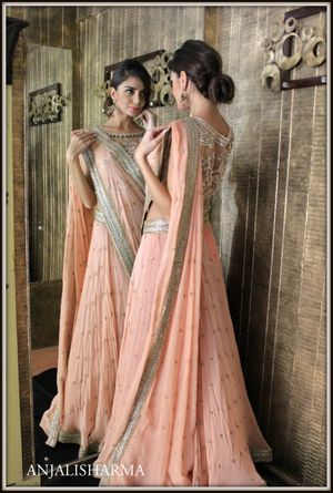 Simple and subtle peach lehenga