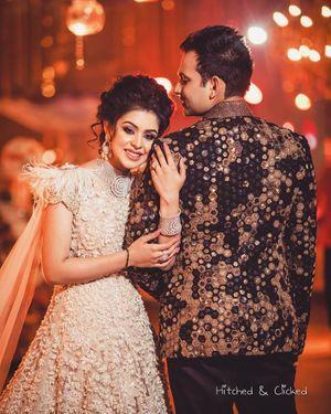 Bride and groom on sangeet portrait