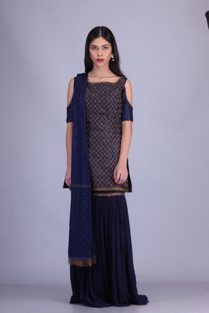 Navy blue color sharara