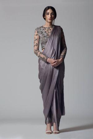 Dark Grey color drape saree