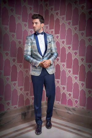 Unique printed tuxedo jacket for groom
