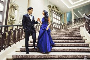 Ink blue engagement gown