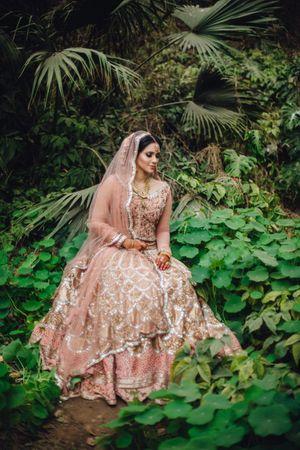 Unique millenial bridal pink lehenga