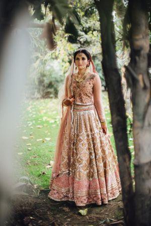 Minimal modern bridal lehenga in millenial pink