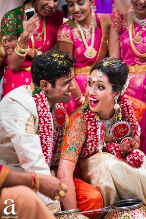 Bright and happy south indian couple candid shot