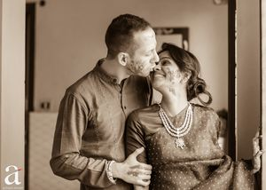 Photo of Romantic black and white couple shot