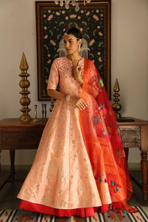 Summery anarkali in light peach and red for mehendi