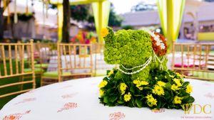 Unique floral mehendi table centerpiece
