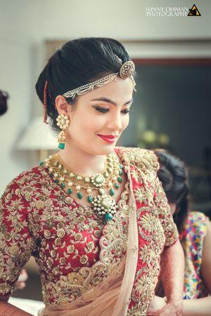 Blushing bride shot on wedding day