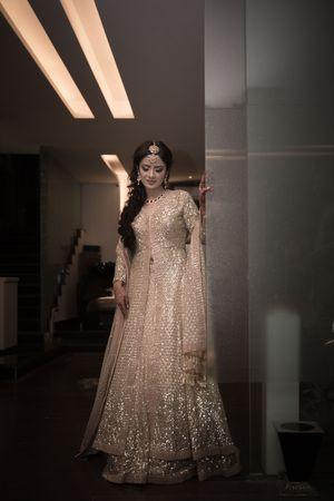 Gold sequin work Anarkali for engagement