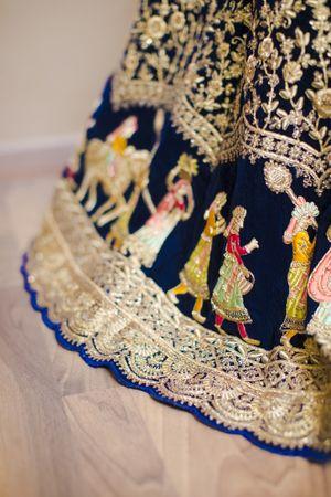 Unique blue bridal lehenga with Baraat embroidery