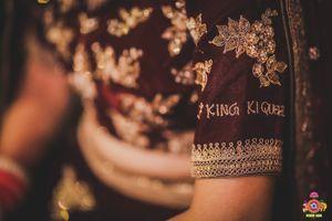 Personalised embroidery on lehenga wedding hashtag