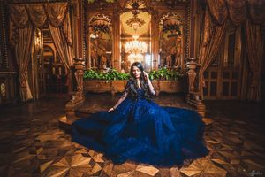 Navy blue glam pre wedding shoot gown
