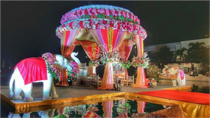 Round mandap for night wedding
