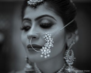 Unique modern bridal Nath with stones