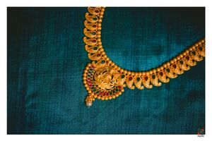 Stunning gold necklace with goddess laxmi motifs