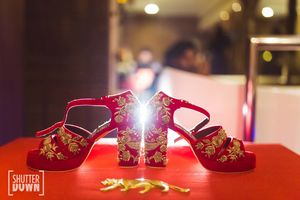 Zardozi work red and gold bridal shoes