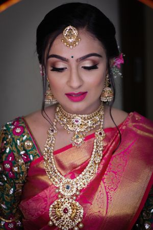 South Indian bridal necklaces layered