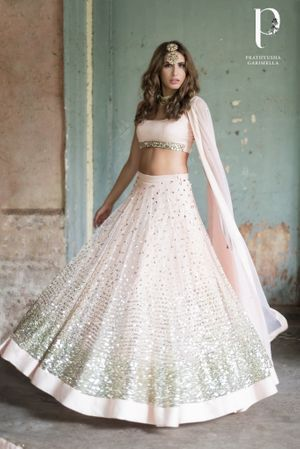 Shimmery pink lehenga for an engagement or sangeet
