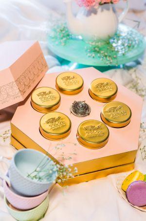 Beautiful pastel tea box as wedding favors