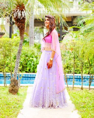 Lavender lehenga with pink blouse for engagement