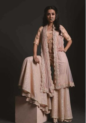 Soft peach sharara with jacket