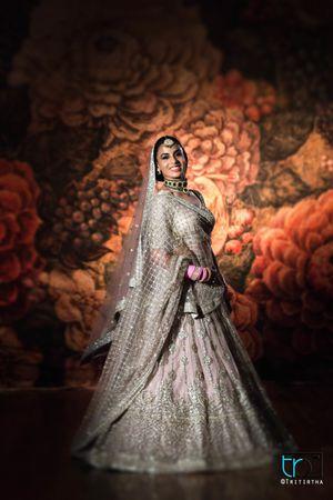 Offbeat silver and pink bridal lehenga