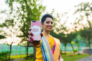 Bridal phone cover with boss lady