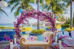 Floral wreath decor for mehendi seating