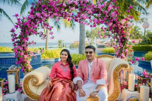 Floral wreath mehendi seating decor for couple