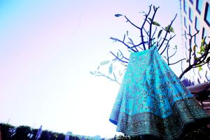 Pretty hanging shot of light blue lehenga