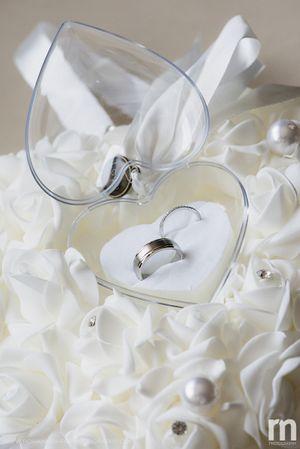 Wedding band in heart shaped box