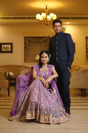 Coordinated bride and groom on engagement