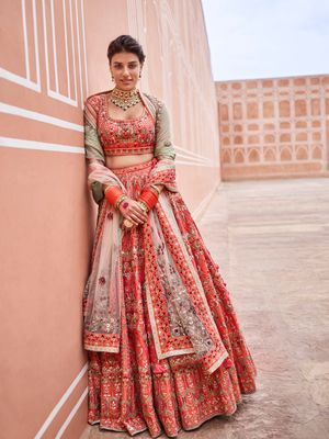 Threadwork Anita Dongre lehenga in orange reddish hue