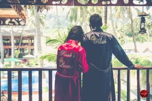 Personalised robes for pre wedding shoot