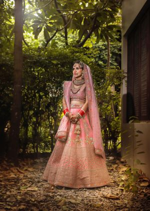 Ombre light pink lehenga with unique shades