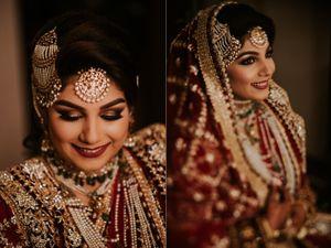Muslim bridal look with pearl jhoomer
