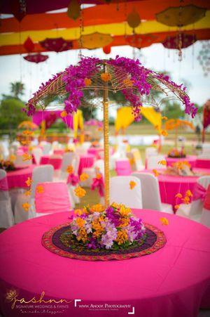Parasol style floral centrepiece