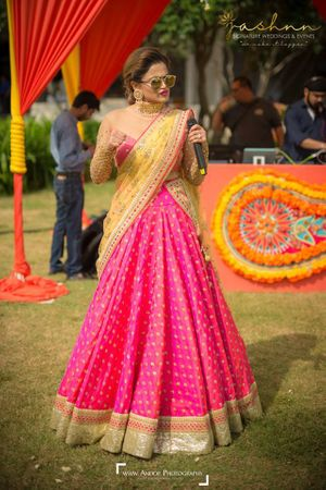 Yellow and pink bridesmaid lehenga