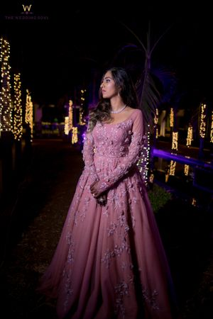 Light pink evening gown for sangeet or engagement