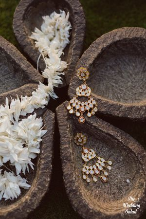 Bridal jewellery photography with earrings on display