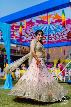 Pastel bridal mehendi lehenga light pink