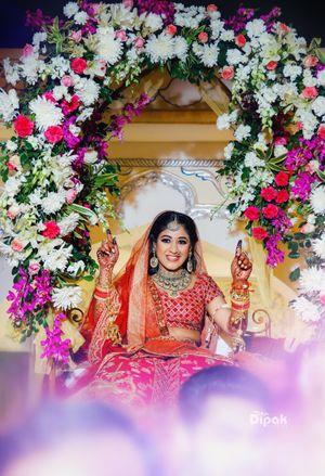 Bridal entry portrait in Palki